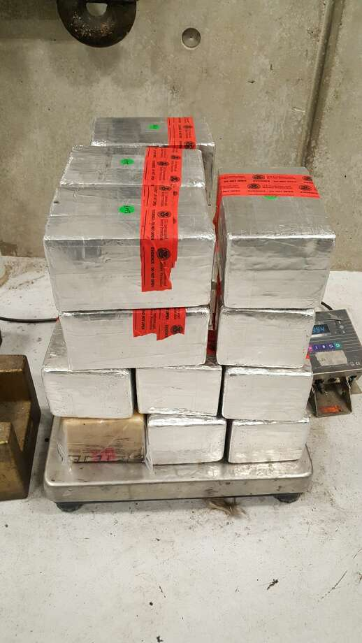 Shown are about 100 pounds of methamphetamines. U.S. Customs and Border Protection officers said they seized the meth from a Nuevo Laredo man on Feb. 9. The contraband had an estimated street value of $2.2 million. Photo: Courtesy