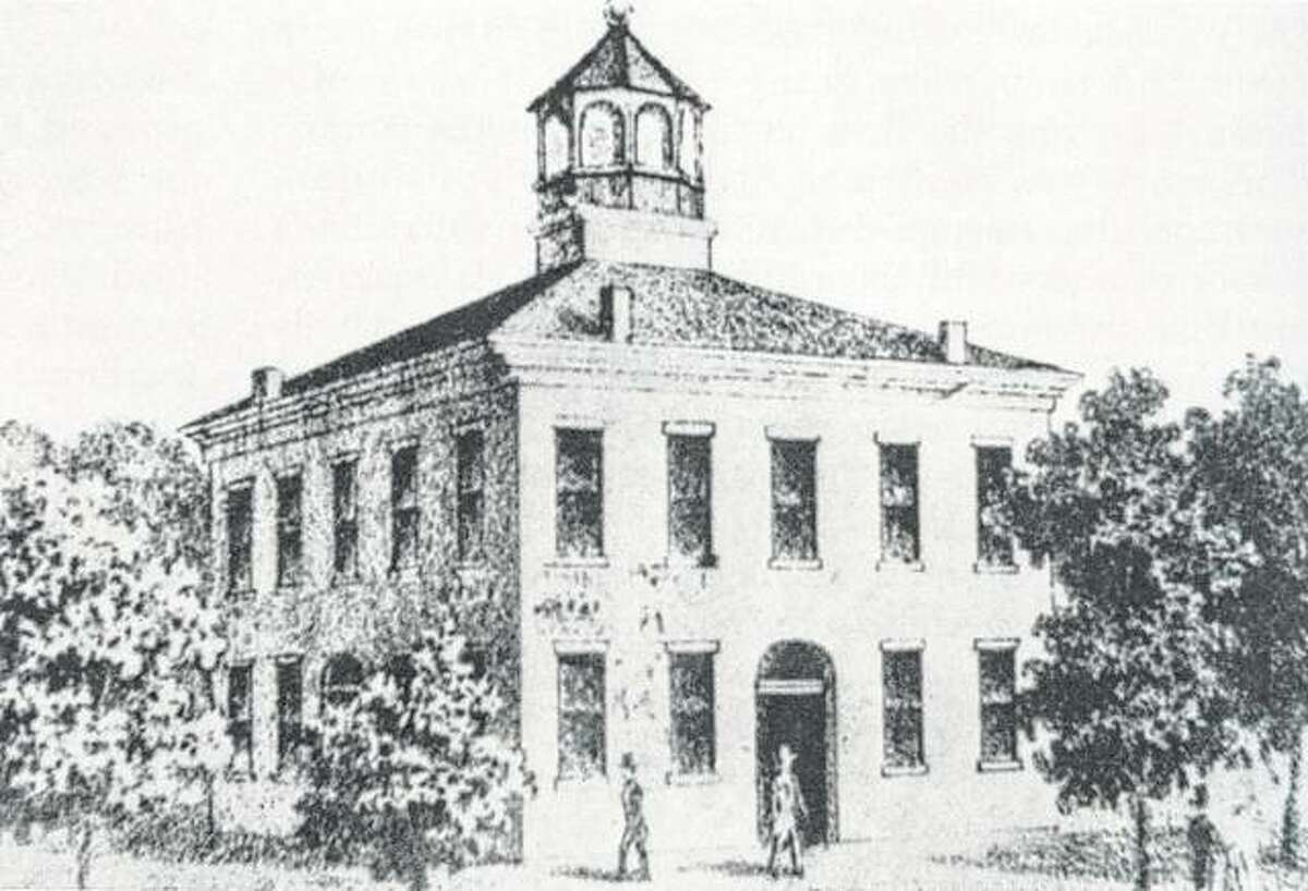 This is a sketch of Morgan County's second courthouse, which stood on the Jacksonville square from 1830 to 1869.