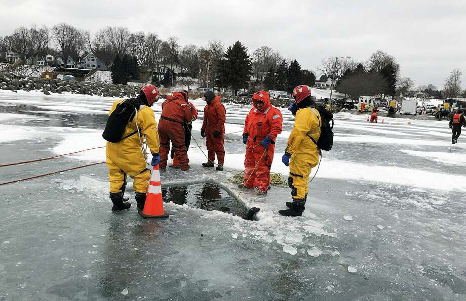Multiple agencies responded to a 911 call Saturday of a truck breaking through the ice in the Lexington Harbor. Photo: Courtesy Photo