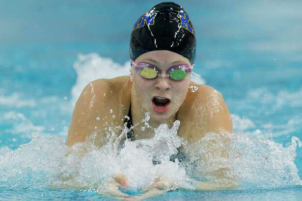 Charlotte Longbottom of Klein competes in the Class 6A girls 100-yard breaststroke during the UIL State Swimming & Diving Championships at the Lee & Joe Jamail Texas Swimming Center, Saturday, Feb. 16, 2019, in Austin.