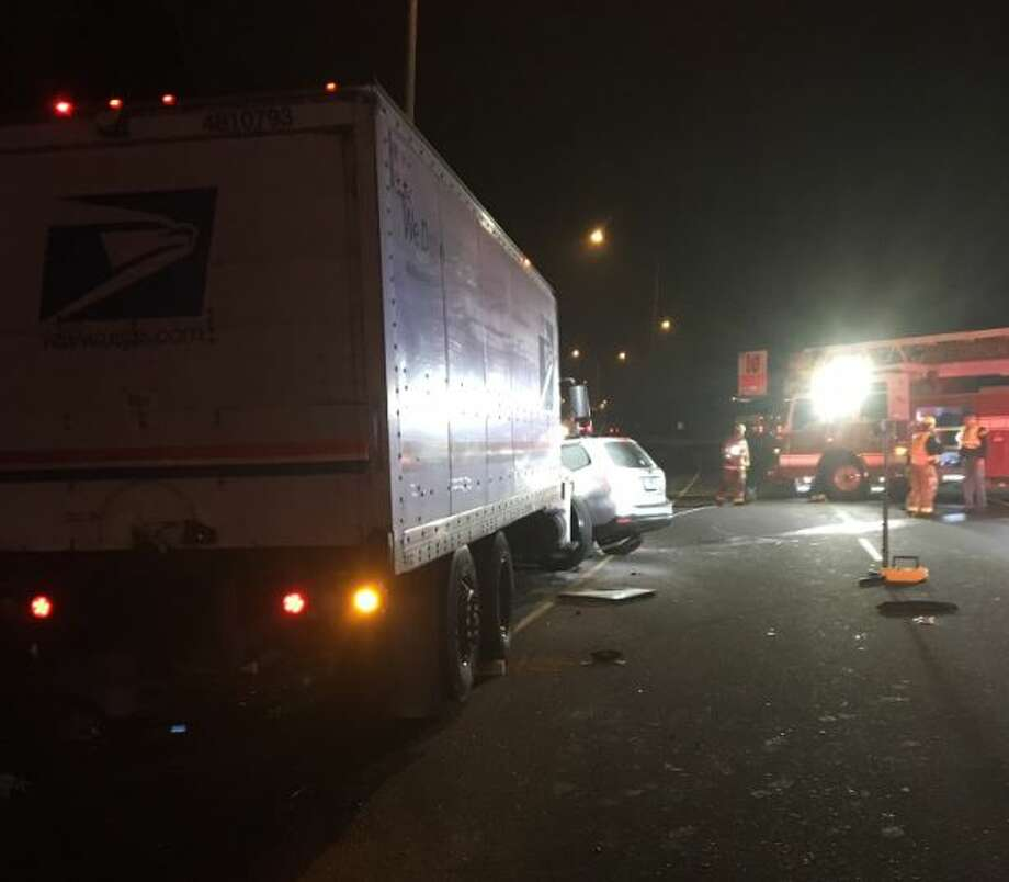 A wrong-way driver crashed into a U.S. Postal Service truck on state Route 520 Monday morning. Photo: Courtesy WSP