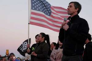 Beto O'Rourke, the former Democratic congressman who is now considering a presidential run in 2020, speaks at a protest rally in El Paso, Texas, Feb. 11, 2019. The battle to succeed Donald Trump in the White House will be, in part, a battle to succeed him as the protagonist of our national serial drama, which makes the primary, in part, an audition. (Jessica Lutz/The New York Times)