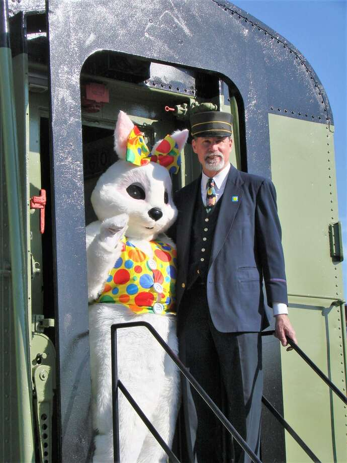 The Easter Bunny will visit the Danbury Railway Museum April 13 and 14 and visitors can take a ride in a vintage train through the historic railyard to meet him. Photo: Danbury Railway Museum / Contributed Photo