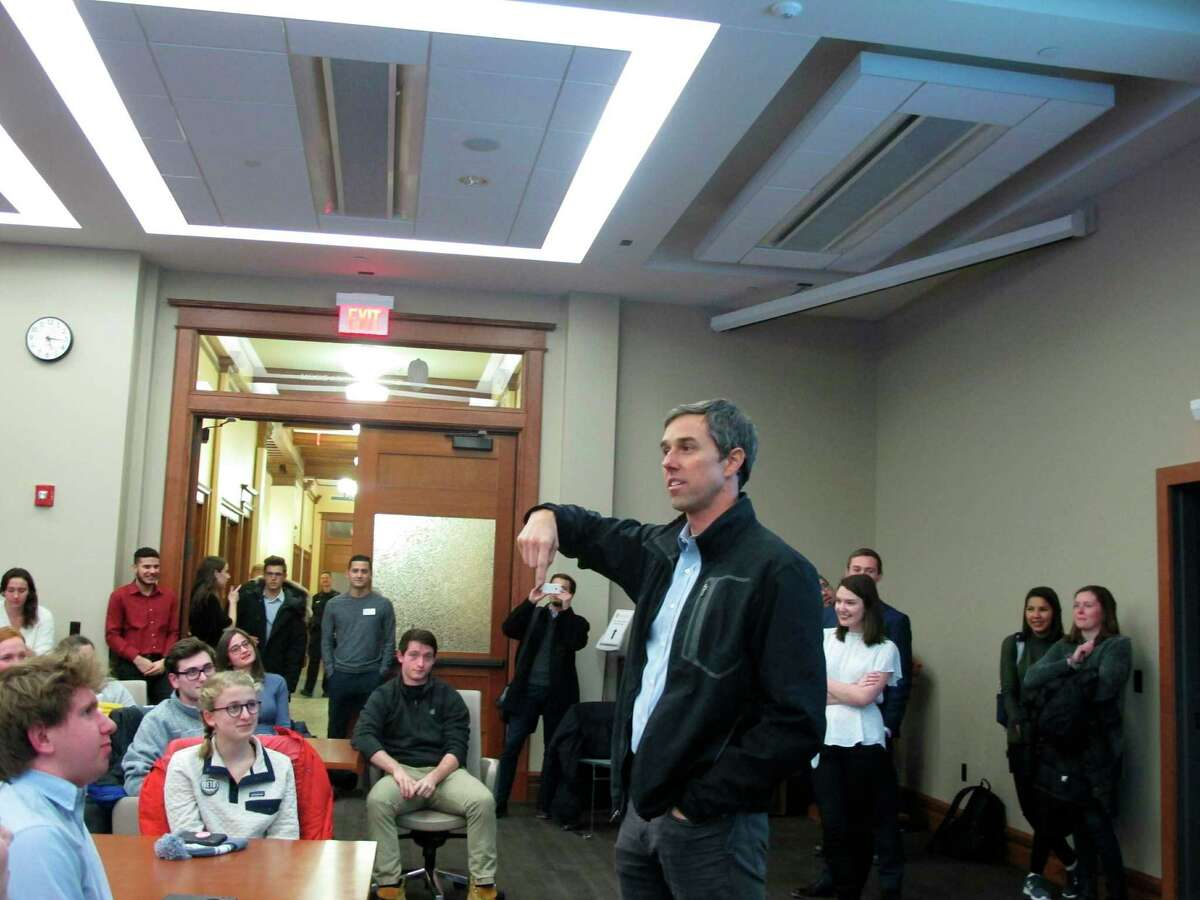 Potential 2020 Democratic presidential candidate Beto O'Rourke stops by an overflow room to thank University of Wisconsin-Madison students who came to hear him speak at an event that attracted more than 200 people on Friday, Feb. 15, 2019, in Madison.