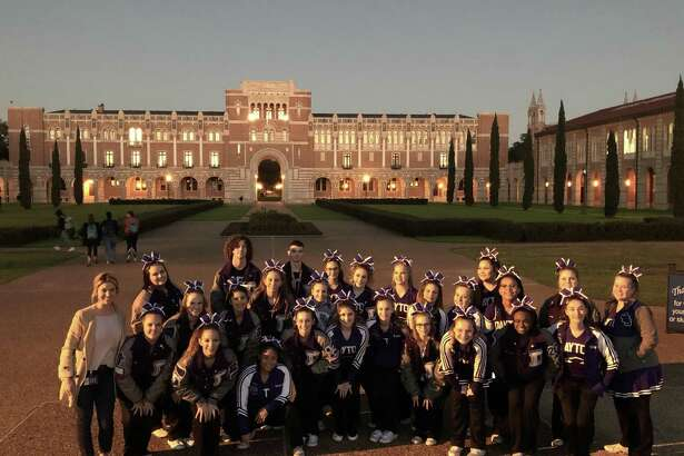 Dayton cheerleaders performed at Rice University and took the opportunity to tour the campus. In the background is Lovett Hall and the famous Sallyport. Front row from left, Molly Carter, Kennedi Mumphrey, Jordan Cantrell, Lanie Graves, Katelynn Cantrell, K'Lynn Thornton, Brooke Alley, Learrick Loften, and Kiley Black. Second row, Coach Morgan Lossow, Kaylee Mann, Emma Rae Thornton, Mallory Threadgill, Gabby Zumpano, Kayla Cantrell, Morgan Butler, Kailey Brister, Jacque Brady, Breanna Rogers, and Rilea Trousdale. Back row, Skylee Green, Hayden Cognata, Kevin Rasberry, Emma Sims, Skye Rylans, Karley Chauvin, and Lilian Seibert.