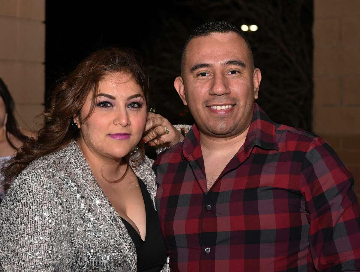 Rocio and JC Ochoa pose for a photo during the Banda MS concert.