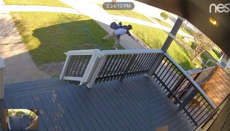 Will Charles' home surveillance footage appeared to show a postal worker pepper spraying his dog, Teddy, who was secured in the home's backyard on Feb. 15, 2019. Photo: Courtesy Of Will Charles