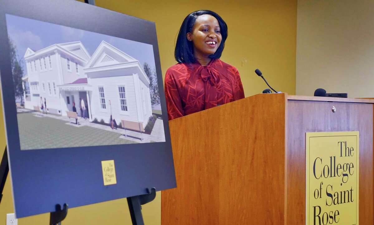 Hellen Jumo, from Zimbabwe, a student at The College of Saint Rose and a member of the inaugural class of BOLD Women's Leadership Network Scholars, addresses those gathered at an event at the college on Monday, Feb. 18, 2019, in Albany, N.Y. (Paul Buckowski/Times Union)