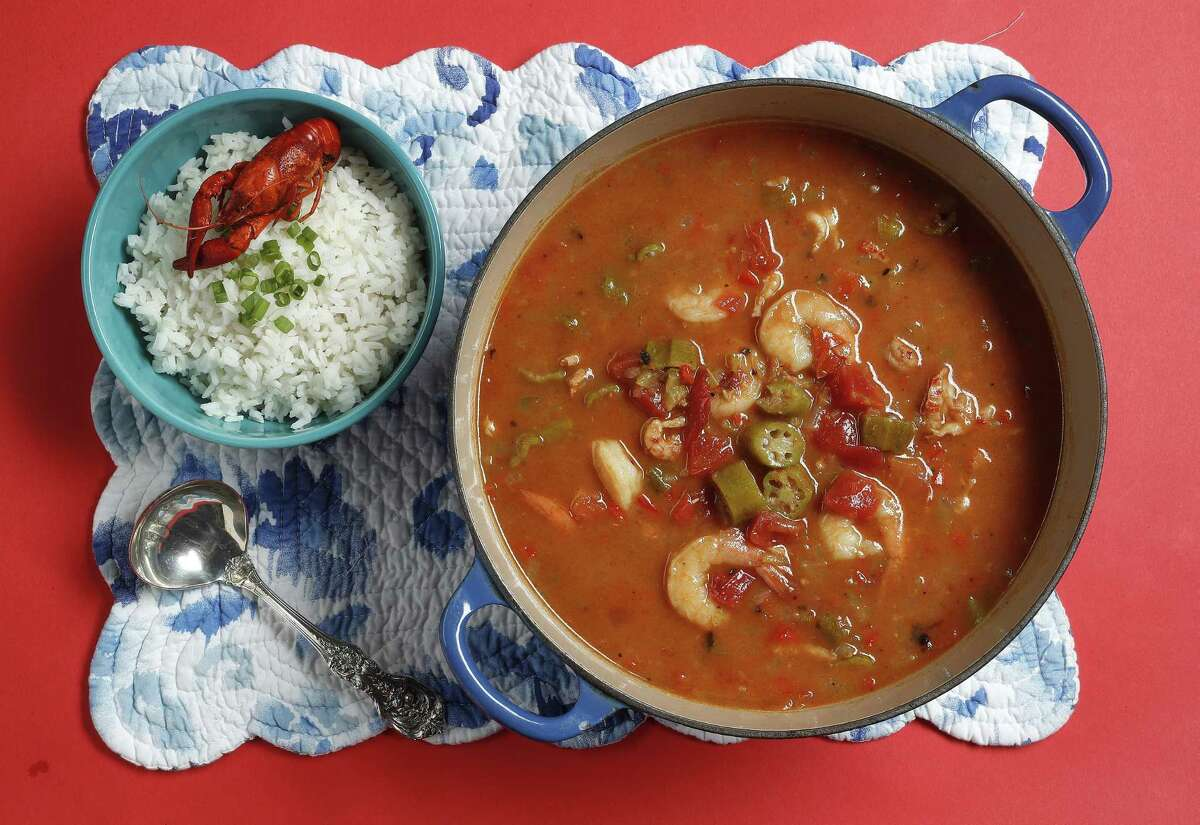 Crawfish and shrimp gumbo is an easy one-pot meal (served with white rice) that sports classic flavors.
