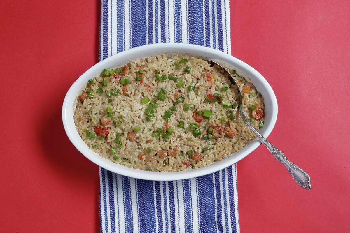 Crawfish jambalaya rice dressing is an easy baked rice side dish.