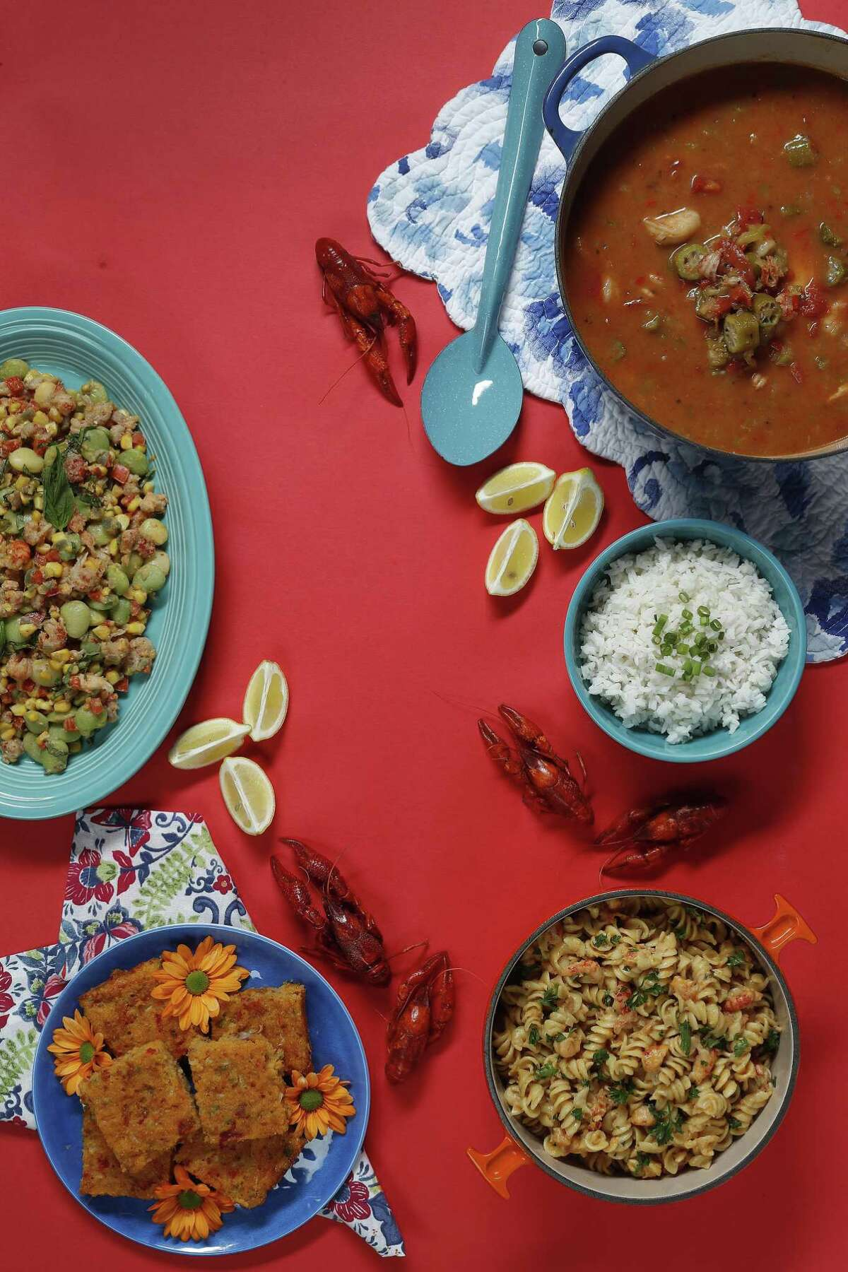 It's easy to use thawed, frozen crawfish tail meat in a variety of Cajun- and Creole-flavored recipes. We used frozen crawfish tails to make (from upper right corner) crawfish and shrimp gumbo, crawfish and cream over pasta, crawfish cornbread and crawfish succotash.