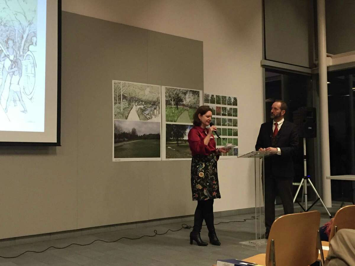 Doreen Stoller, president of Hermann Park Conservancy, and Matthew Urbanski, a representative from Michael Van Valkenburgh Associates, answer questions about the proposed Hermann Park Commons.