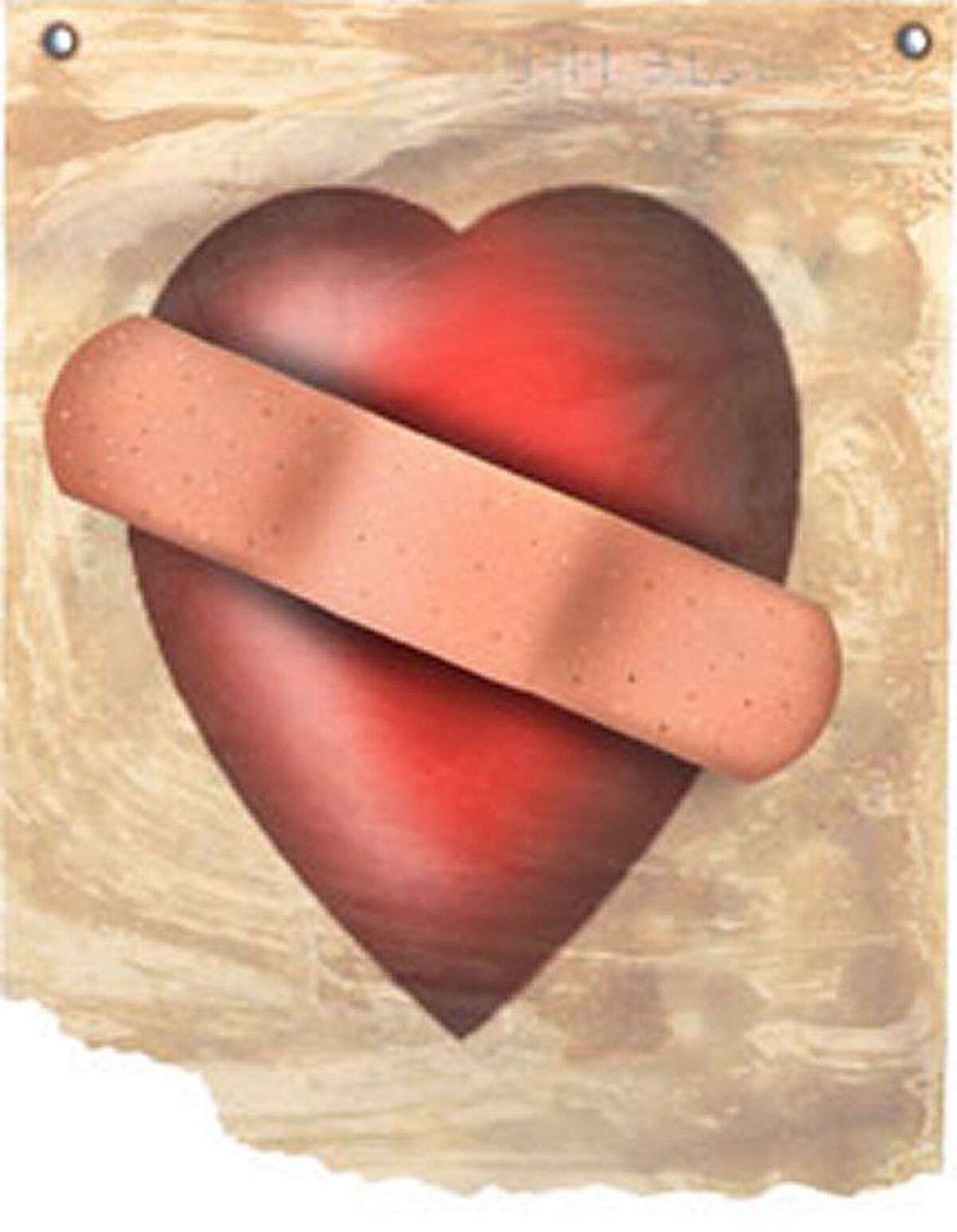 Size as needed (160 dpi, 25p x 33p) Philip Brooker color illustration of heart with Band-Aid across it. EDITORS: This illustration is part of a larger montage of hearts posted as HEART MONTAGE ILLUS. Miami Herald 1997 FOR AT-RISK READERS CATEGORY: ILLUSTRATION SUBJECT: Band-Aid heart illus ARTIST: Philip Brooker ORIGIN: Miami Herald TYPE: EPS JPEG SIZE: As needed ENTERED: 3/20/97 REVISED: STORY SLUG: Stand-alone FOR AT-RISK READERS illustration, feature, features, holiday, valentine's, day, valentine, human, heart, love, marriage, romance, dating, courtship, divorce, broken, injury, bandaid, band-aid, MI, 1997, brooker, risk, women. HOUCHRON CAPTION: (08/23/2004): None.