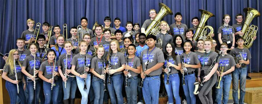 Needville Junior High band students who are Association of Texas Small School Bands All-Region qualifiers are, front row, from left, Caitlin Leister, Elisabeth Kubena, Jalynn Gateley, Sydney Jeske, Camille Hurta, Morgan Moore, Jailyn Webb, Diego Ascencio, Jorge Cortes, Hannah Moeckel, Daniela Gomez and Kaitlyn Kostelnik; second row: Colton Oliver, Jared Taylor, Jana Whatley, Clayton Nesvadba, Jake Gonzales, Mia Guillen, Furrest Greenwood, Elizabeth Rosales, Jaden Watson, Holly Faas, Luke Slawinski and Sam Von Niederhausen; third row: Seth Miller, Kyle Petrusek, Jose Melendez, Tyler Wleczyk, Tate Gustavus, Israel Patino, Isamar Garcia, Austin Rash and Mathew Dikeman; back row: Craig Sizemore, Marshall Hobbs, Isais Espinoza, Hunter Aguilar, Logan Henke, Ian Amos, Humberto Garcia-Avellaneda, Victor Muniz and Cavender Kolar. Photo: Needville ISD / Needville ISD