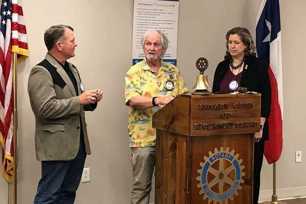 "Rotary Club of Richmond members Jess Stuart and Elizabeth Duff-Drozd were both ""pinned"" on Feb. 5 by John Cotterell, Richmond Rotary club Foundation chair, with Paul Harris Fellow ""plus"" pins recognizing their continuing contributions to the Rotary Foundation. From left are Stuart, Cotterell and Duff-Drozd."