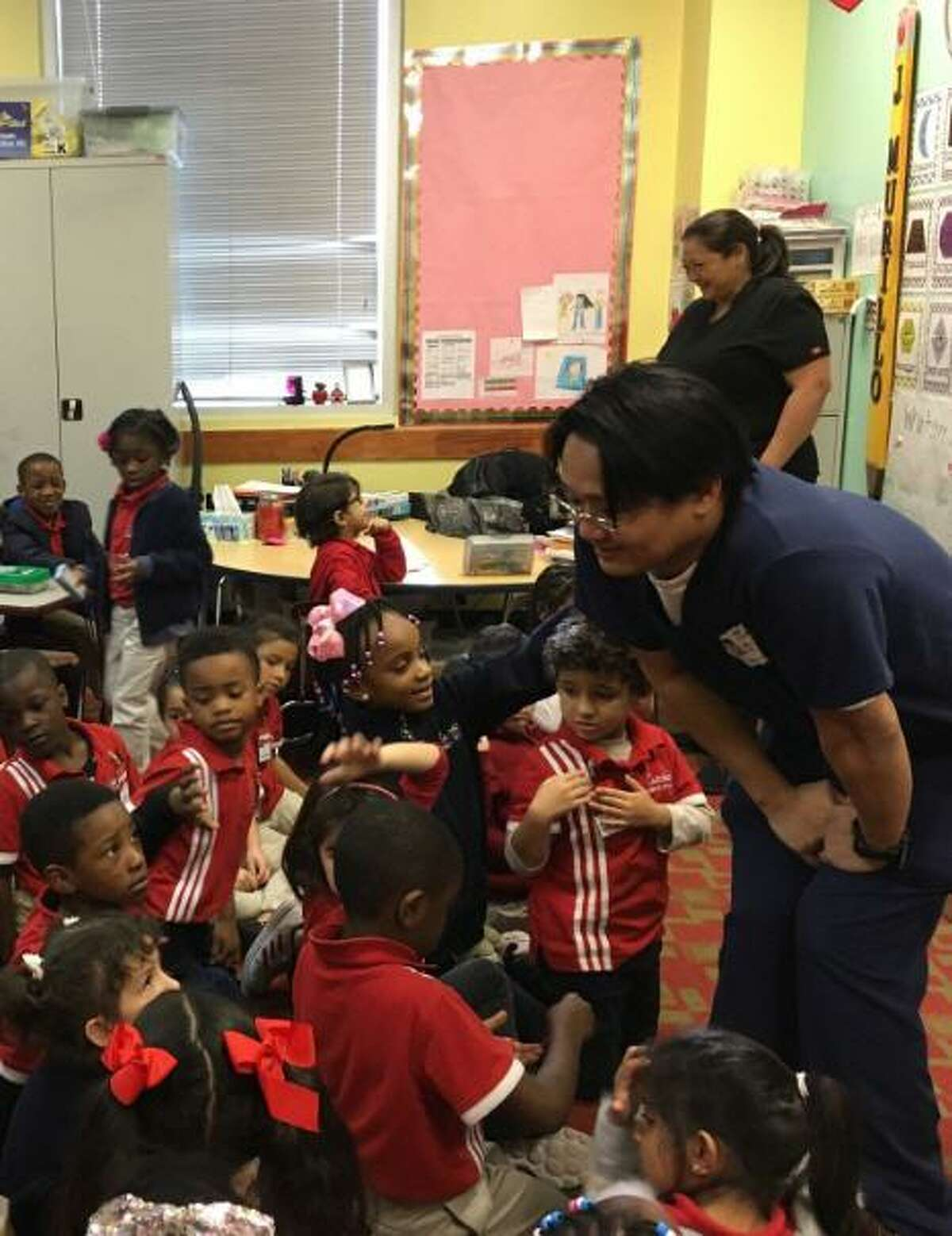 Dr. Jeffrey Chu of Katy Dental Experts involved kindergartners in a discussion about dental health as part of the second annual Dental Day at Harmony Science Academy-Katy on Feb. 12.