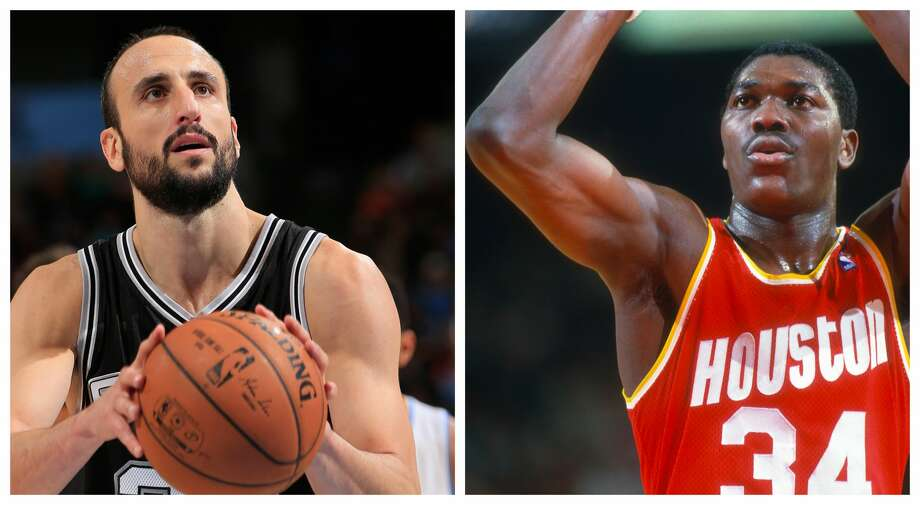 PHOTOS: A look at Hakeem Olajuwon through the years Comparing the careers of the Spurs' Manu Ginobili and the Rockets' Hakeem Olajuwon. Photo: Getty Images