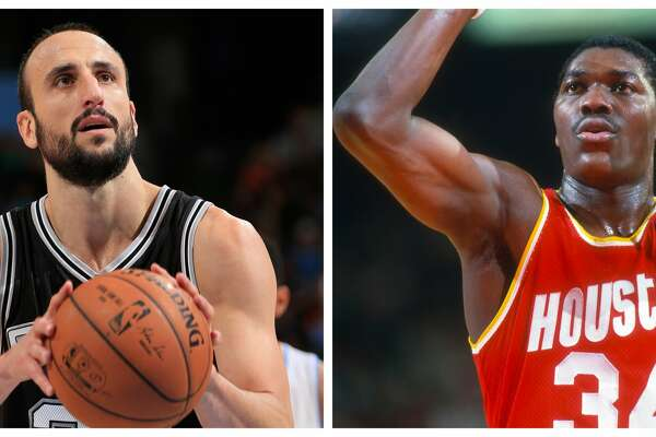 Comparing the careers of the Spurs' Manu Ginobili and the Rockets' Hakeem Olajuwon.