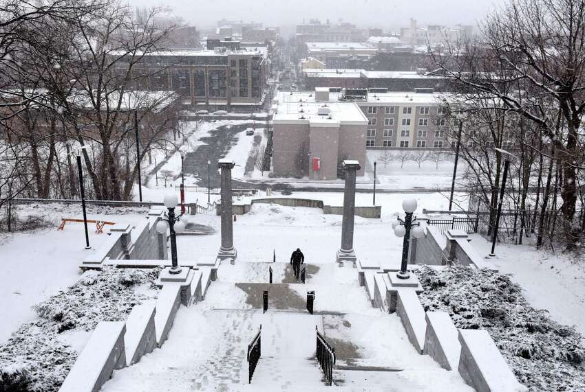 A loan figure ascends the Louis Rubin Memorial Approach up to the Rensselaer Polytechnic Institute campus on Monday, Feb. 18, 2019, in Troy, N.Y. (Will Waldron/Times Union)