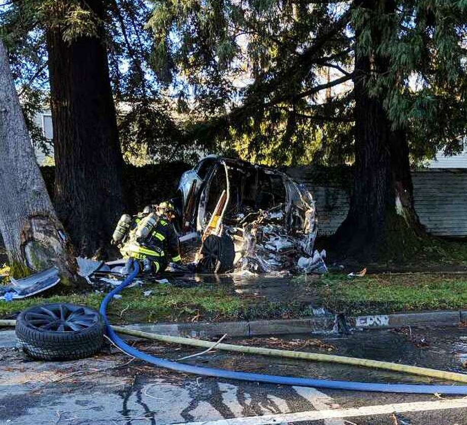 A Tesla driver was lucky to walk away from a fiery crash Monday morning, Feb. 18, 2019 in Fremont, Calif.  authorities said. Photo: Fremont Police Department