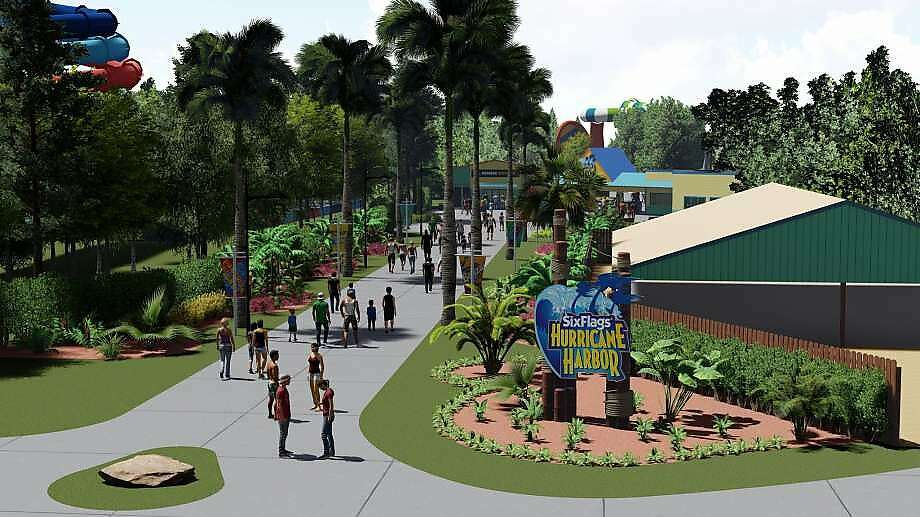 Six Flags is renaming and renovating Wet 'n' Wild Splashtown, the largest water park in the Houston area, which it purchased last year. The Grand Prairie, Texas-based amusement park company announced that Wet 'n' Wild Splashtown will be rebranded as Six Flags Hurricane Harbor Splashtown, as seen in this rendering. On Friday, authorities said a male worker fell to his death from a structure at the park. Photo: Six Flags