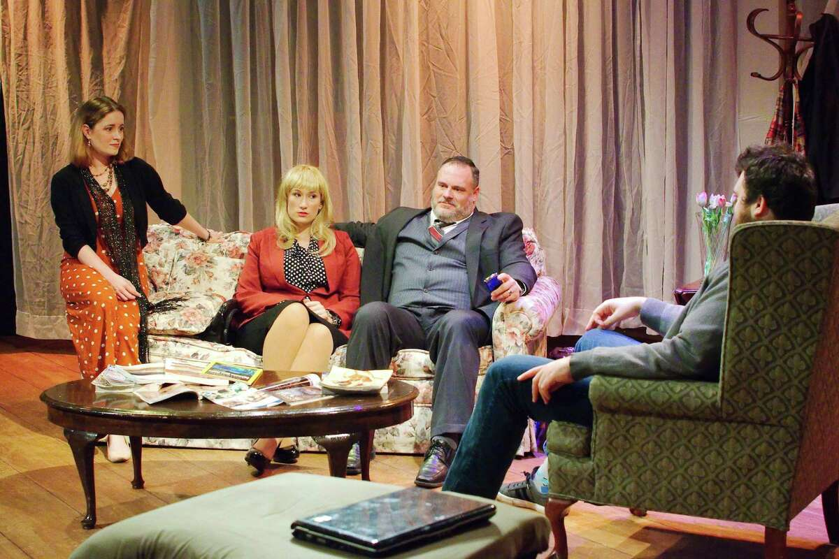 Smiles turn to bile when couples played by Roxann Hales and Heather Hughes and by Luke Hales and Robert Meek reveal their true selves while discussing a playground fracas involving their children in Clear Creek Community Theatre's satire