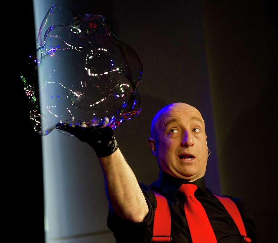 Casey Carle performs in his one-man show BubbleMania at the Palace Theater on Saturday, February 16, 2019. Photo: Lindsay Perry / For Hearst Connecticut Media / Stamford Advocate Freelance