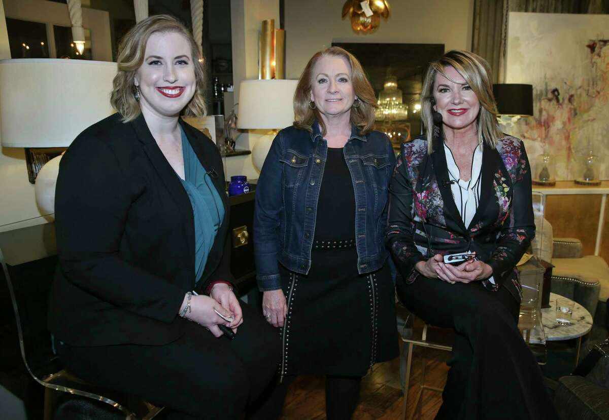 Amanda Mahle, from left, Diane Cowen and Cindy Aplanalp Yates, at Access Design on Feb. 8. Aplanalp Yates is principal at Chairma Design Group, and Mahle is a designer there. Cowen is the Houston Chronicle's architecture and design writer.