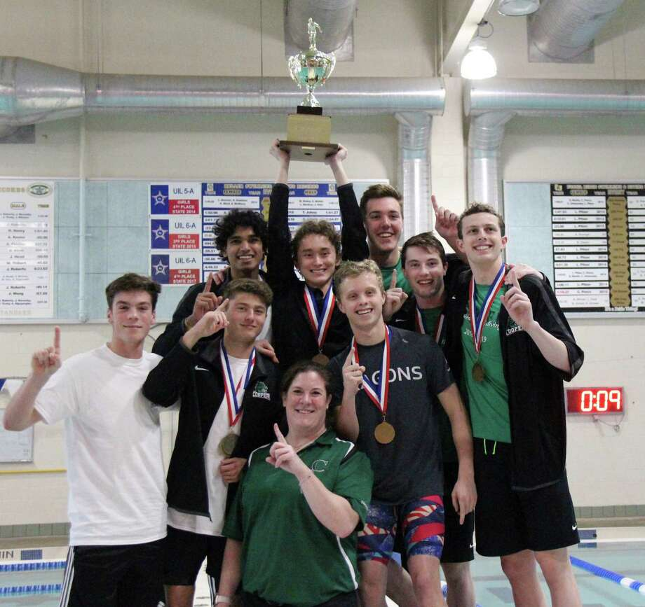 The John Cooper boys swimming team won their first SPC title since 2008 over the weekend in Keller. Photo: Submitted Photo