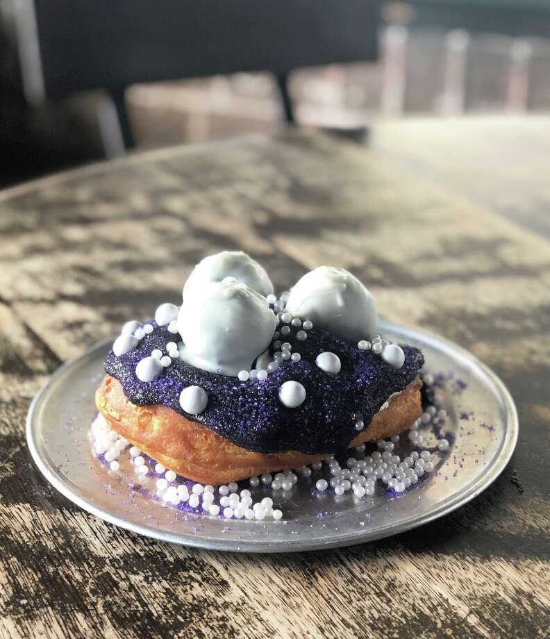 "Gourdough's Public House is opening the first-ever Alamo City location on Saturday with a party and donut fit for a queen — the Queen of Tejano, that is. Gourdough's unveiled the ""Bidi Bidi Bon Bon,"" a Selena-inspired and San Antonio-exclusive sweet, on Monday. Photo: Courtesy, Gourdough's Public House"
