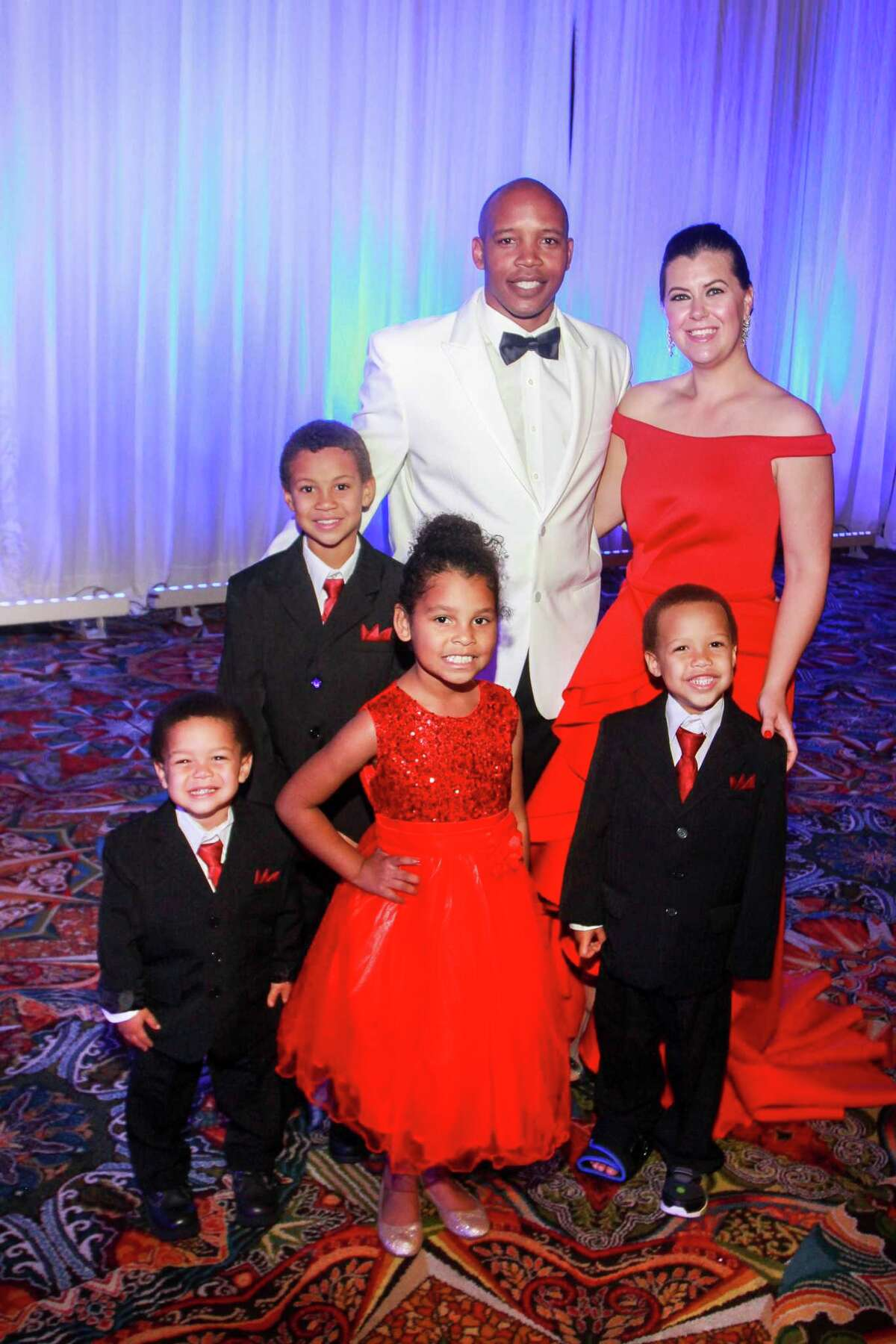 Honorees Kenya and Kelli Cager, and their children, Kohen, from left, Khaden, Kiearra and Khristian, at the Heart Ball at Hilton Americas Houston.