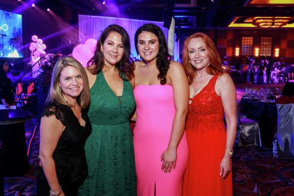 EMBARGOED FOR REPORTER UNTIL FEBRUARY 19 Holly Veech, from left, Cindy Prator, Maddie Prator and Sherilyn Steele at the Heart Ball at Hilton Americas Houston.