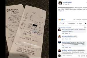 "The customer at Tkilaz Mexican Restaurant Bar and Grill opted not to leave Heshus Baeza a tip; instead the diner, whose bill was $17.55, wrote: ""My tip is to build the (expletive) wall now!"""