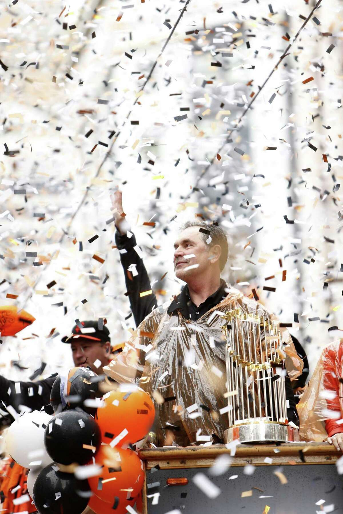 Bruce Bochy and the Giants were feted on Market Street in 2014 after their third World Series title.