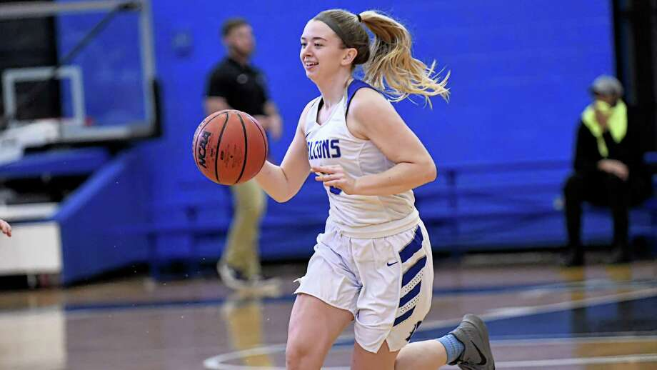 Jill Johnson and the Albertus Magnus women's basketball team begin GNAC tournament play on Tuesday at Regis. Photo: Ron Waite / Photosportacular