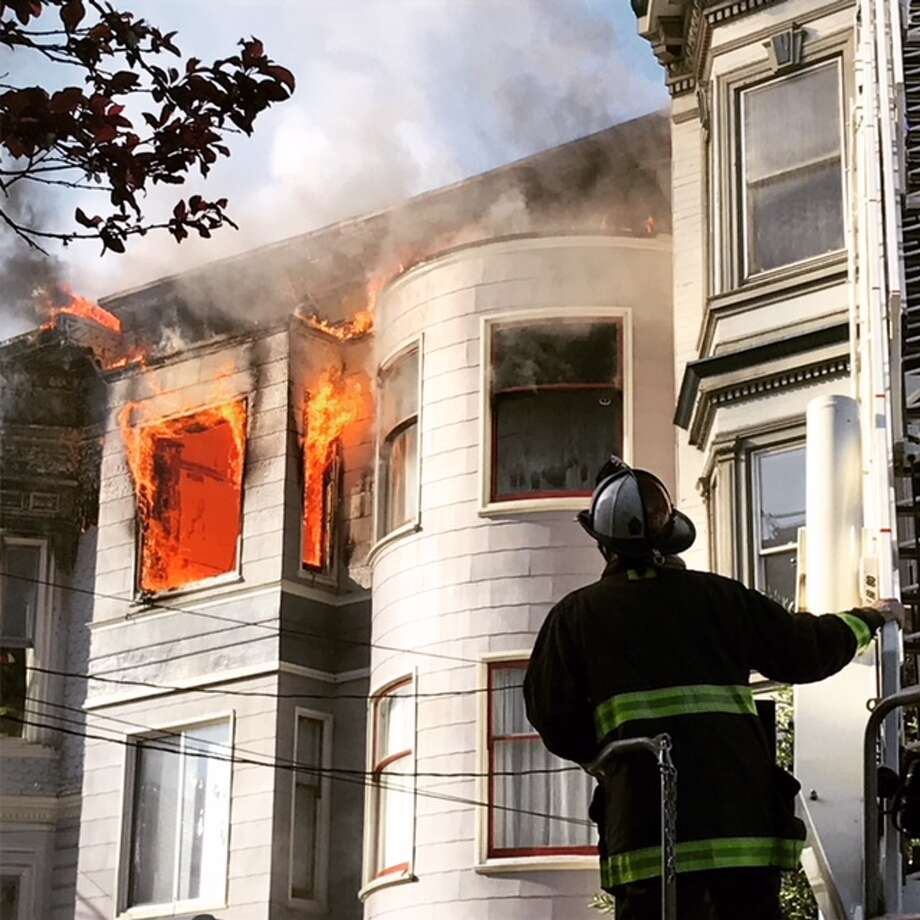 The San Francisco Fire Department responds to a two-alarm fire on Page Street in San Francisco, Calif. on Monday, Feb. 18, 2019. Photo: Ted Andersen/SFGATE