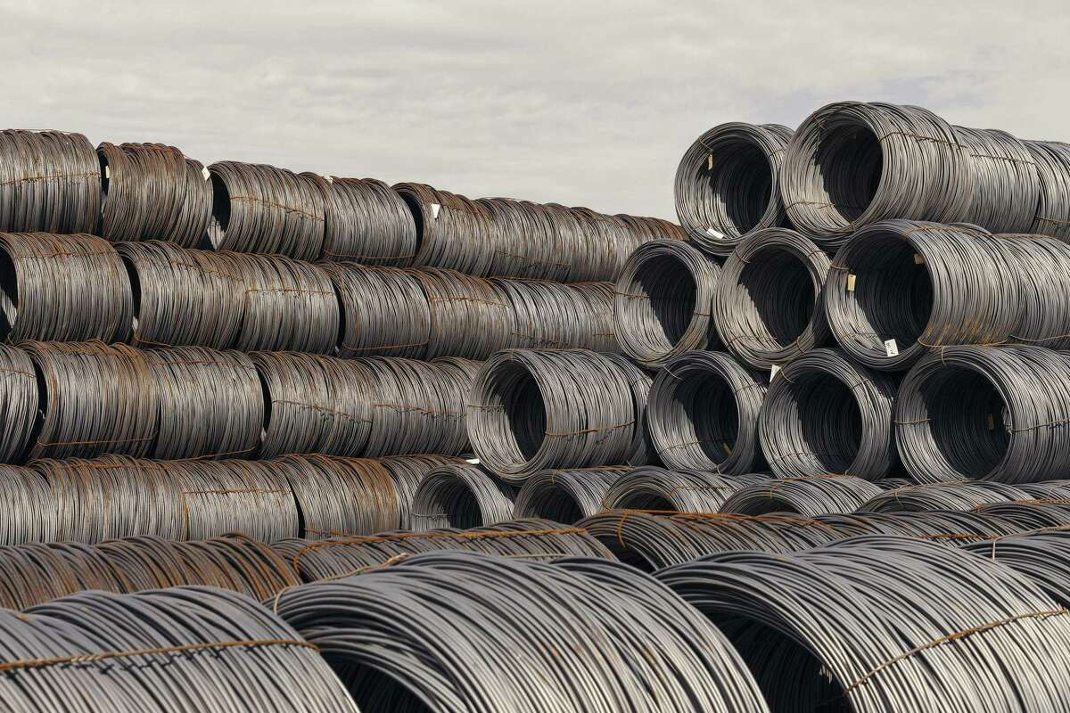 Bales of imported raw steel at Insteel Wire Products in Houston, March 2, 2018.