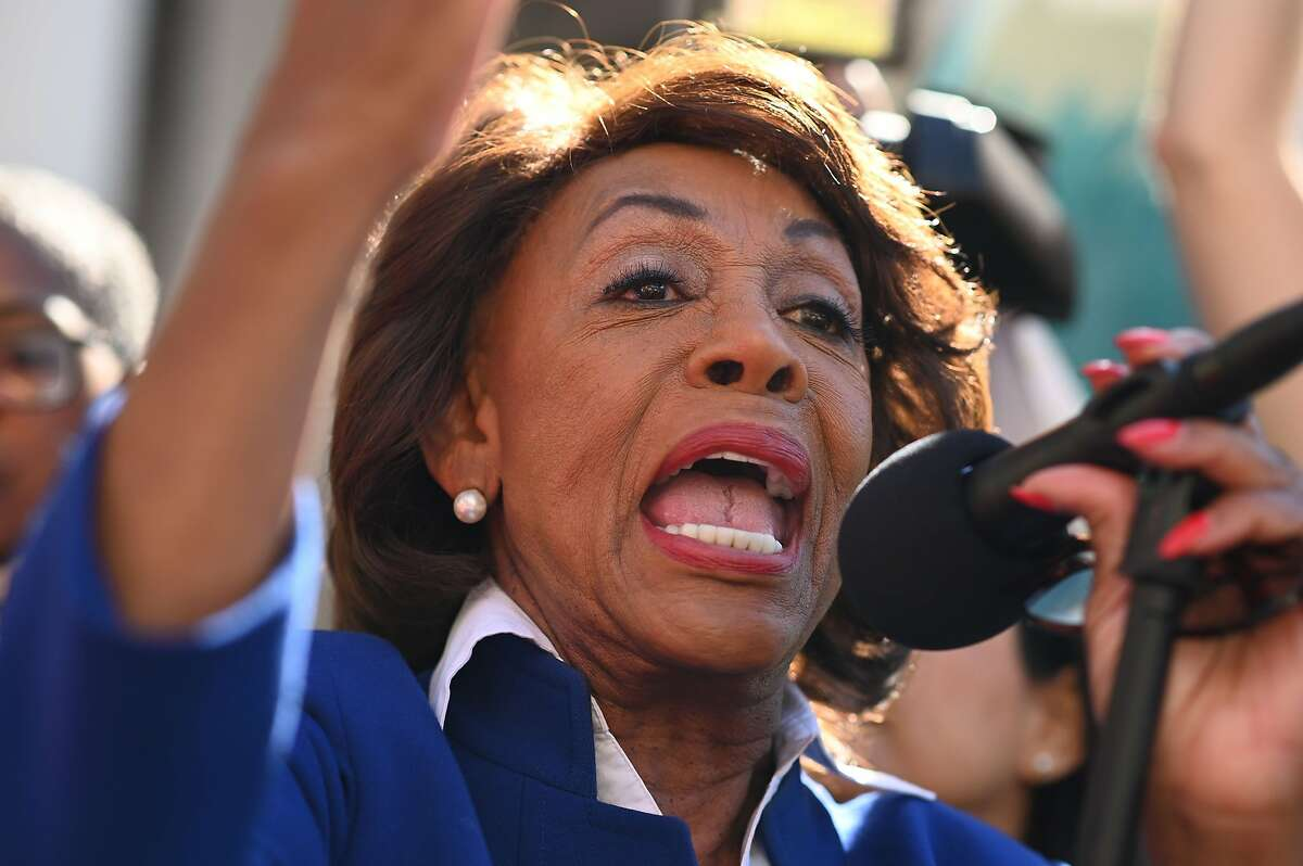 U.S. Rep. Maxine Waters (D-Calif.) speaks at a protest against U.S. President Donald Trump's National Emergency declaration, February 18, 2019, outside City Hall in Los Angeles, California. - The event is part of a nationwide mobilization in response to Trumps's invoking of a national emergency to receive more funding for a border wall along the U.S.-Mexico border. (Photo by Robyn Beck / AFP)ROBYN BECK/AFP/Getty Images