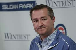 Chicago Cubs chairman Tom Ricketts answers questions during a news conference at a spring training baseball workout Monday, Feb. 18, 2019, in Mesa, Ariz. (AP Photo/Morry Gash)