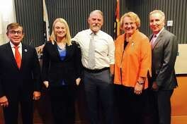 Mayor Robert Moon, left, Christy Holstege, J.R. Roberts, Lisa Middleton and Geoff Kors constitute the Palm Springs, California, City Council, the first in the United States to be all-LGBT.