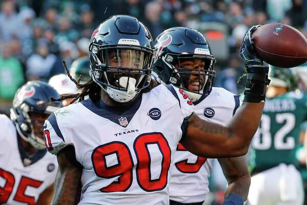 Texans linebacker Jadeveon Clowney celebrates one of his three fumble recoveries during the 2018 season.
