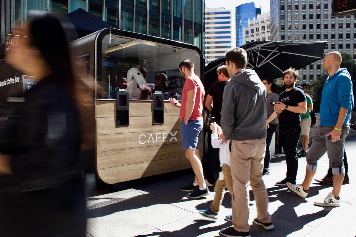 A Cafe X robotic barista coffee kiosk in San Francisco's Financial District.