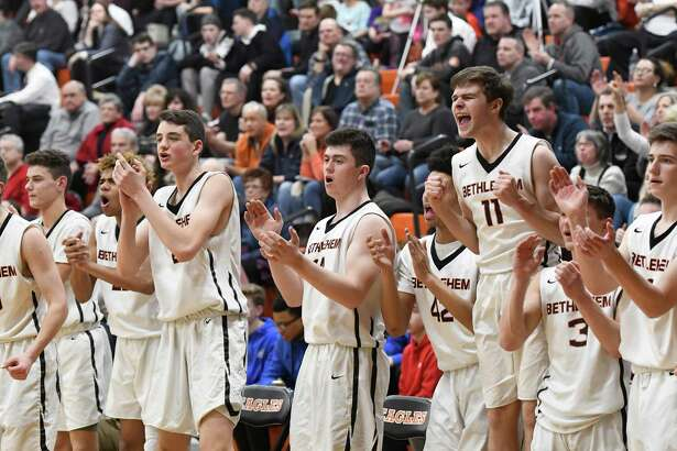 Bethehem basketball players cheer for a basket made against CBA during a game at Bethlehem High School on Wednesday, Feb. 13, 2019 in Delmar, N.Y. (Jenn March, Special to the Times Union)