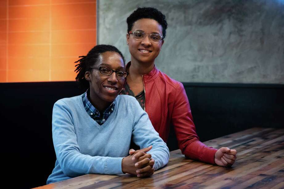 Tiana Hawkins, left, of Clinton, Maryland, and Annissia Hawkins of Temple Hills, Maryland, have accused National Christian Academy of discriminating against them because of their sexual orientation. The ACLU of Maryland is using the couple's experience to push for a bill that would prohibit private schools that receive state money from discriminatory practices. (Photo by Sarah L. Voisin/The Washington Post) Photo: Sarah L. Voisin, The Washington Post / The Washington Post