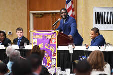 West Brook's Darrel Hawkins Jr. addresses the audience after winning the Willie Ray Smith Defense Award on Monday night.