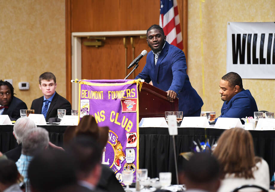 West Brook's Darrel Hawkins Jr. addresses the audience after winning the Willie Ray Smith Defense Award on Monday night. Photo: Guiseppe Barranco