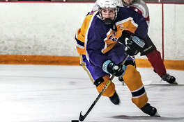 Nolan Kahl of Bethalto scored four of his team's five goals in a 7-5 loss to Triad in Game 2 of the best-of-three Mississippi Valley club Hockey Association Class 1A finals Monday night at the East Alton Ice Arena. Bethalto lost the series two games to none.