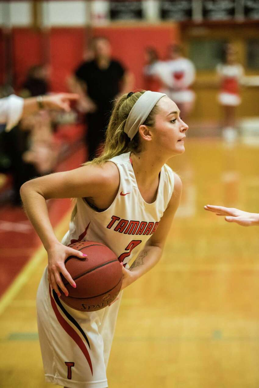 Tamarac 's Emily Erickson looks for an opening as they faced off against Voorheesville at Tamarac High School in Troy, NY Tuesday January 22nd, 2019