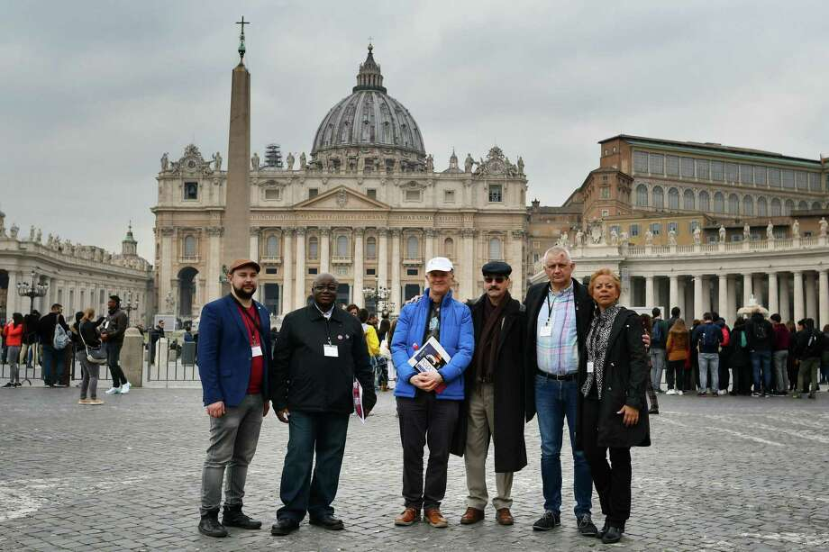 (From L) Victims of sexual abuse Maniuse Mileiosky, Benjamin Kitobo, Peter Saunders, Jacques, Marek Lisinski and Denise Buchanan pose in front Saint Peter's square on February 18, 2019, in Rome. - After years of struggling alone or finding support in national groups, survivors of child abuse by priests have formed a new international alliance for the first time to pressure the Catholic church to face up to its crimes. The group, called Ending Clerical Abuse (ECA), brings together activists from dozens of countries and several continents, and will be mobilised in Rome this week when Pope Francis hosts a hotly-awaited summit on tackling the wave of child sex abuse scandals assailing the Catholic Church. (Photo by Alberto PIZZOLI / AFP)ALBERTO PIZZOLI/AFP/Getty Images Photo: ALBERTO PIZZOLI / AFP or licensors