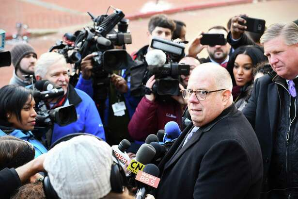 Maryland Gov. Larry Hogan, a Republican, addresses the media before his second inauguration on Jan. 16, 2019, in Annapolis, Maryland.